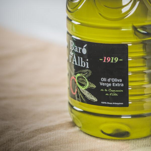 Oli d'oliva verge extra. Cooperativa Agrícola de l'Albi. DEtall garrafa 5 L