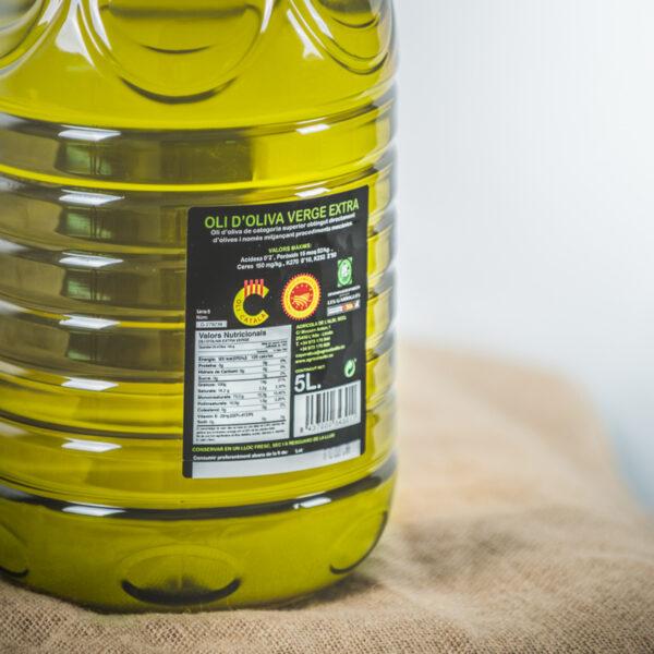 Oli d'oliva verge extra. Cooperativa Agrícola de l'Albi. Detall etiqueta 5 L