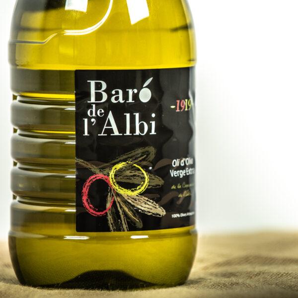 Oli d'oliva verge extra. Cooperativa Agrícola de l'Albi. DEtalls etiquetes