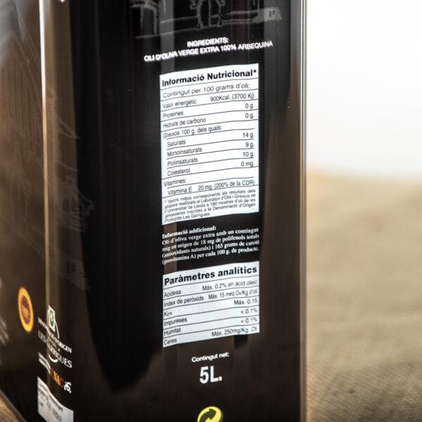 Oli d'oliva verge extra. Cooperativa Agrícola de l'Albi. Detall ingredients 5 L