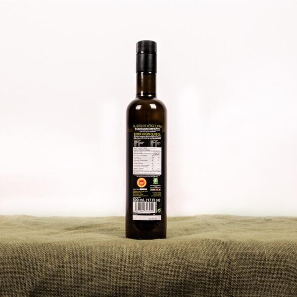 Oli d'oliva verge extra. Cooperativa Agrícola de l'Albi. Etiqueta ampolla 500 ml oli
