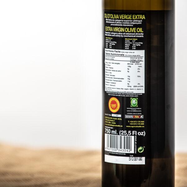 Oli d'oliva verge extra. Cooperativa Agrícola de l'Albi. Detalls etiqueta 750 ml oli